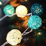 EchoSari Lichterkette mit 5cm Rattankugeln, batteriebetrieben, circa 2,6Meter, mit 20warm weißen LED-Lichtern, ideal für Schlafzimmer, Innenräume, Hochzeit, Weihnachten, Party oder als Dekoration für Ihr Zuhause grün