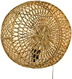 Guru-Shop Wandlampe/Wandleuchte Maumere, in Bali Handgefertigt aus Naturmaterial, Rattan, 35x35x14 cm, Dekolampe Stimmungsleuchte