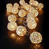 ILOVEDIY 20 Rattan-Ball 2.2M Lichterkette String Lights - Ideal für Hochzeit, Weihnachten, Party, Heim-Dekoration